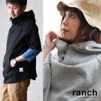 半袖 パーカー プルオーバー ボリュームネック ビッグフード 綿100% ポンチ素材 無地  (ランチ) ranch