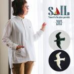 SAIL シャツ 長袖 プルオーバー 日本製 綿100% ソフト オックス 無地 つばめ ツバメ 刺繍 前後 アシメントリー サイド スリット レディース