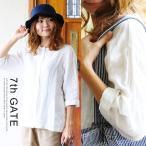 シャツ ブラウス 七分袖 フレアシルエット ノーカラー ポケット付き 麻100% 日本製 (セブンスゲート) 7th GATE