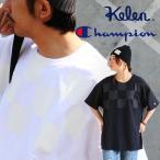 KELEN × Champion 半袖 Tシャツ【チェッカーフラッグ】 ビンテージ ロゴ かすれ ラバー プリント