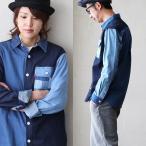 長袖 シャツ デニム パッチワーク ポケット クレイジーパターン 6.8オンス  (ジーアールエヌ) grn