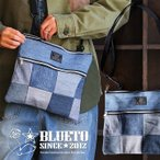 バッグ ショルダー サコッシュ 2WAY 『リメイク パッチワーク ユーズド デニム』 Dカン付き 綿100% BLUETO レディース メンズ