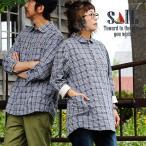 シャツ 七分袖 7分袖 プルオーバー 袖裏 異素材切り替え 丸襟 「刺し子 透かし ジャガード織り ミニ チェック」 メンズ レディース  SAIL