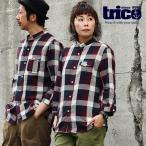 シャツ 七分袖 7分袖 バンドカラー 「配色 チェック柄 綿100% 薄手 楊柳風 ガーゼ」 メンズ レディース  TRICO