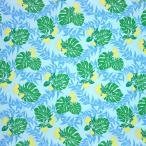 水色のハワイアンファブリック ポリコットン レフア・モンステラ・ティリーフ柄 fab-2674AQ 【4ヤードまでメール便可】