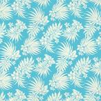 水色のハワイアンファブリック ポリコットン プルメリア・ヤシ柄 fab-2770AQ 【4yまでメール便可】