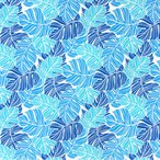 水色のハワイアンファブリック ポリコットン モンステラ柄 fab-2779AQ 【4ヤードまでメール便可】
