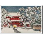 マウスパッド オリジナル 浮世絵 浮世絵マウスパッド 12010 川瀬巴水 - 雪の増上寺