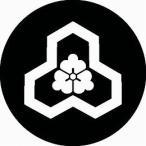 家紋シール 変わり花亀甲紋 直径10cm 丸型 白紋 2枚セット KS10M-2738W