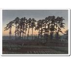 マウスパッド オリジナル 浮世絵  浮世絵マウスパッド 薄ぴた U12011 川瀬巴水 - 池上市之倉(夕陽)
