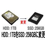 SSD:256GBに変更【HDD:1TB→SSD:256GB】