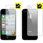 iPhone 4S/4 防気泡・フッ素防汚コート!光沢保護フィルム Crystal Shield (両面セット)