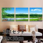 50×50cm アートパネル フレーム絵画 山河 晴天 ほとり 壁掛け インテリア絵画 ウォールデコ 自然風景 癒し 飾り