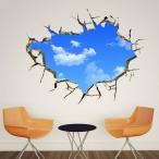 【大きいサイズ】ウォールステッカー (壁のひび割れ穴 青空) だまし絵 アート インテリアシール 窓枠 壁デコレーション 北欧風 DIY リビング