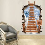 【大きいサイズ】ウォールステッカー (壁の縦穴 3D梯子) だまし絵 トリックアート インテリアシール 壁デコ 北欧風 DIY リビング
