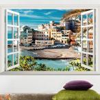 【普通郵便・送料無料】 ウォールステッカー (イタリア チンクエッティ  海岸) だまし絵 トリックアート 風景写真 絵画 3D窓フレーム  DIY