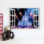 【普通郵便・送料無料】 ウォールステッカー (シンデレラ城 夜景 花火) だまし絵 アート インテリアシール 窓枠 壁デコレ 北欧風 DIY リビング