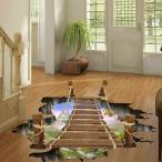 床用 ウォールステッカー 地面の穴 3D吊り橋 だまし絵 トリックアート インテリアシール 壁デコ 北欧風 DIY リビング