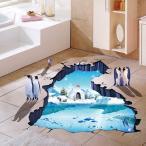 【普通郵便・送料無料】 ウォールステッカー 床用 (ペンギン 南極の海) だまし絵 トリックアート インテリアステッカー イラスト  DIY 剥がせる