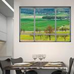 ウォールステッカー 田園風景 山 だまし絵 アート インテリア 窓枠 壁デコ 北欧風 DIY リビング