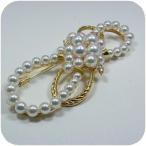 パールブローチ 国産アコヤ真珠ブローチ K18 0,57ct