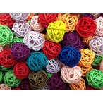 ラタンボール・カラー(ミニ)自然素材100% 籐のツルを編んだボール マンチボール インコ おもちゃ