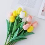 造花 チューリップ 同色5本セット ピンク/ホワイト/イエロー アーティフィシャルフラワー フェイクフラワー ブーケ 花束 おしゃれ かわいい インテリア