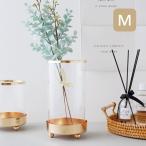 【倉庫出荷】フラワーベース 花瓶 Mサイズ ガラス おしゃれ かわいい ゴールド 丸 丸型 円形 シンプル