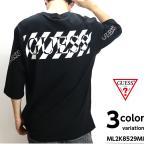 GUESS ゲス 5分袖 Tシャツ カットソー ワイドシルエット ロゴ オーバーサイズ ティーシャツ T-SHIRTS カットソー トップス MENS メンズ メール便 送料無料