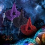 コスプレハット ハロウィン 大人用 魔女 帽子 悪魔 とんがり帽子 コスチューム コスプレ小物 レディース メンズ 花飾り メッシュ パープル