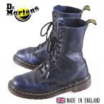 イングランド製 ヴィンテージ / Dr.martens ドクターマーチン / 10ホールブーツ / ブラック×ネイビーマーブル レザー / UK4 JPN23.0cm
