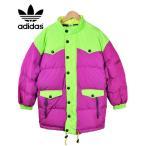ヴィンテージ 1990年代 日本製 adidas アディダス ダウンジャケット マゼンタピンク×蛍光ライムグリーン メンズL