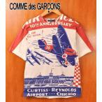 コム・デ・ギャルソン オム 半袖Tシャツ ホワイト×飛行機柄 染込プリント メンズM