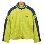 1980年代 adidas アディダス スキージャケット ナイロンジャケット ライムグリーン×ネイビー レディースXS相当