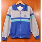 ヴィンテージ 1970年代 日本製 adidas デサント製 ジャージ ブルー×グレー×ターコイズブルー メンズS相当