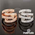ショッピング指輪 指輪 レディース リング スパイラル パヴェ 18金RGP 2色展開