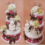 【送料無料】うさぎのリング付きがらがら3段ピンクおむつケーキ 【出産祝い】【お誕生日プレゼント】オムツケーキ