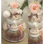 【送料無料】小物いっぱいローズガーデン3段ピンクおむつケーキ 【出産祝い】【お誕生日プレゼント】オムツケーキ