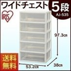 ワイドチェスト 5段 AJ-535 クローゼット 収納ケース 衣装ケース たんす タンス 完成品 衣替え 新生活