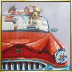 【送料無料】オイルペイントアート 「ドッグドライブ」 (Lサイズ) 御祝 結婚祝い 記念品 贈答品 開店祝い 新築祝い 贈り物 イ..