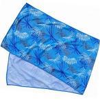 ノア ひんやりタオル 冷たいタオル 冷感 クールタオル リーフ柄 (ライトブルー) 30×100cm