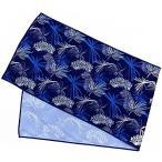 ノア ひんやりタオル 冷たいタオル 冷感 クールタオル リーフ柄 (ネイビーブルー) 30×100cm