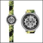 Anne Coquine アンコキーヌ ミリタリー SERIES スワロフスキー グルグル メンズ レディース シルバー グリーン 腕時計