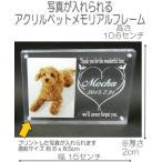 4018ペットの写真と名前が入るアクリル位牌 フォトフレームモニュメントMクリア DOG CATメモリアルプレート
