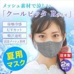 夏用!洗えて清潔!ひんやり冷感マスク「クールピッタマスク(レギュラーサイズ)」2枚セット(紺×ライトグレー)