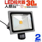 LED投光器 30W 300W相当 人感センサースイッチ付き 防犯 広角120度 防水加工 3mコード付 電球色 2個セット (クーポン配布中)