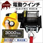 電動ウインチ 12v 3000LBS ウインチ 1361kg 電動ホイスト DC12V  (タイムセール)
