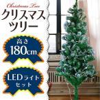 クリスマスツリー 北欧風 飾り 180 cm LEDイルミネーション セット 雪化粧付き ヌードツリー コニファー 針葉樹
