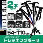 ショッピング登山 トレッキングポール 2本セット T型 LEDライト搭載 ステッキ ストック 登山用杖