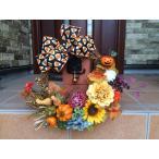 ギフト/花/玄関リース/手作りアートフラワー・リース/40cm/ハロウィン/ホーンテッドハウス&キャンディー・コーン/No.wreath-14371